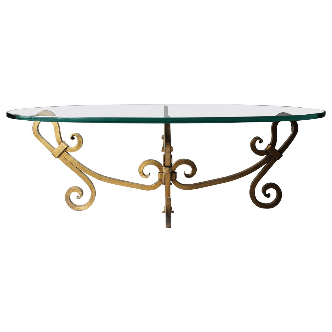 Hollywood Regency Vintage Gilded Gilt Iron Coffee Table At 1stdibs