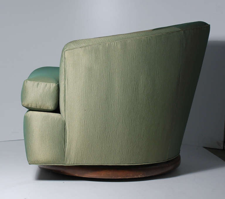 Gliding Swivel Club Chairs Attributed To Milo Baughman
