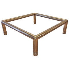 Hollywood Regency Mastercraft Brass Tubular Coffee Table / Oriental Chinoiserie