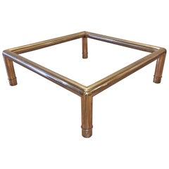 Hollywood Regency Mastercraft Brass Tubular Coffee Table / Oriental Chinoiserie