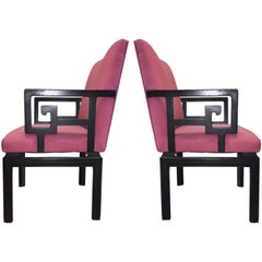 Vintage Hollywood Regency Greek Key Armchairs by Baker ( 4 CHAIRS available )