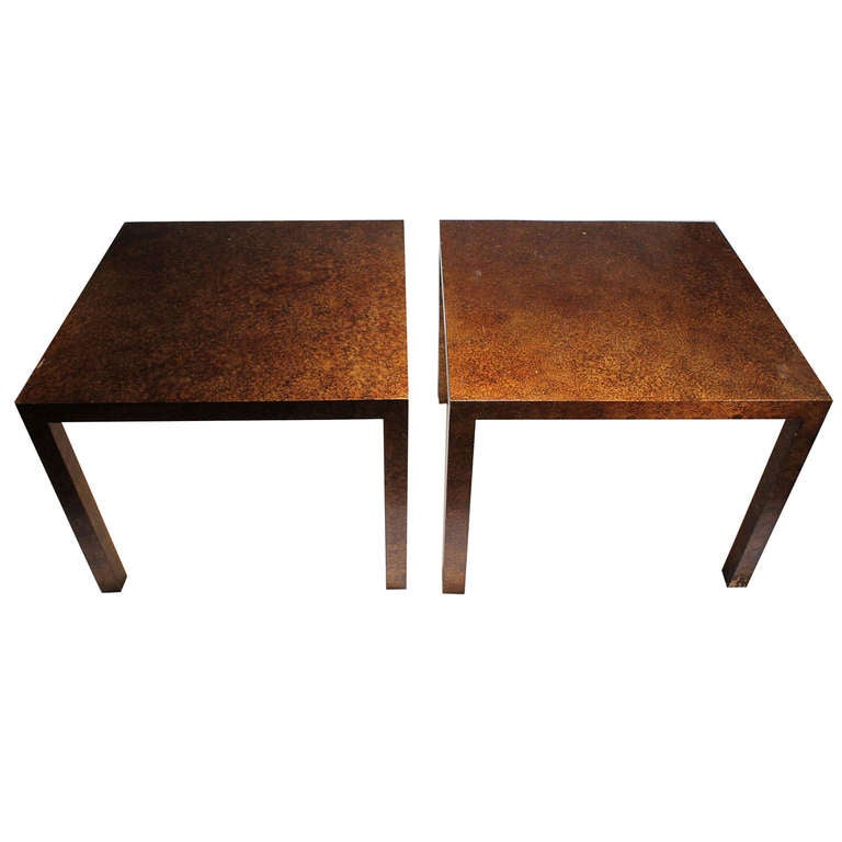 Vintage Pair of Oil Spot Finish Parsons End Tables by Heritage
