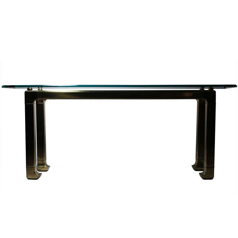 Mastercraft Glass Console Table In The Asian Oriental Taste For Sale