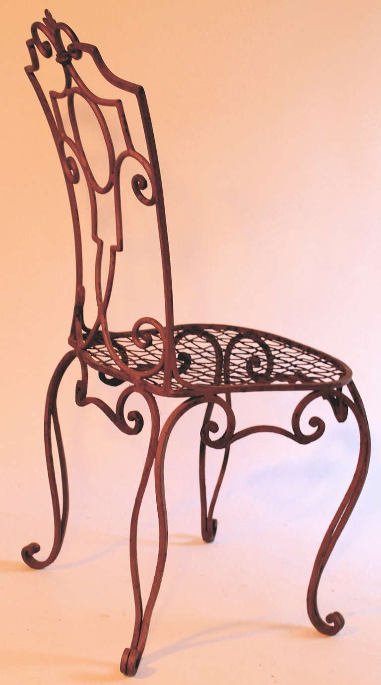Jean Charles Moreux Painted Wrought Iron Chairs Set Of 6 At 1stdibs