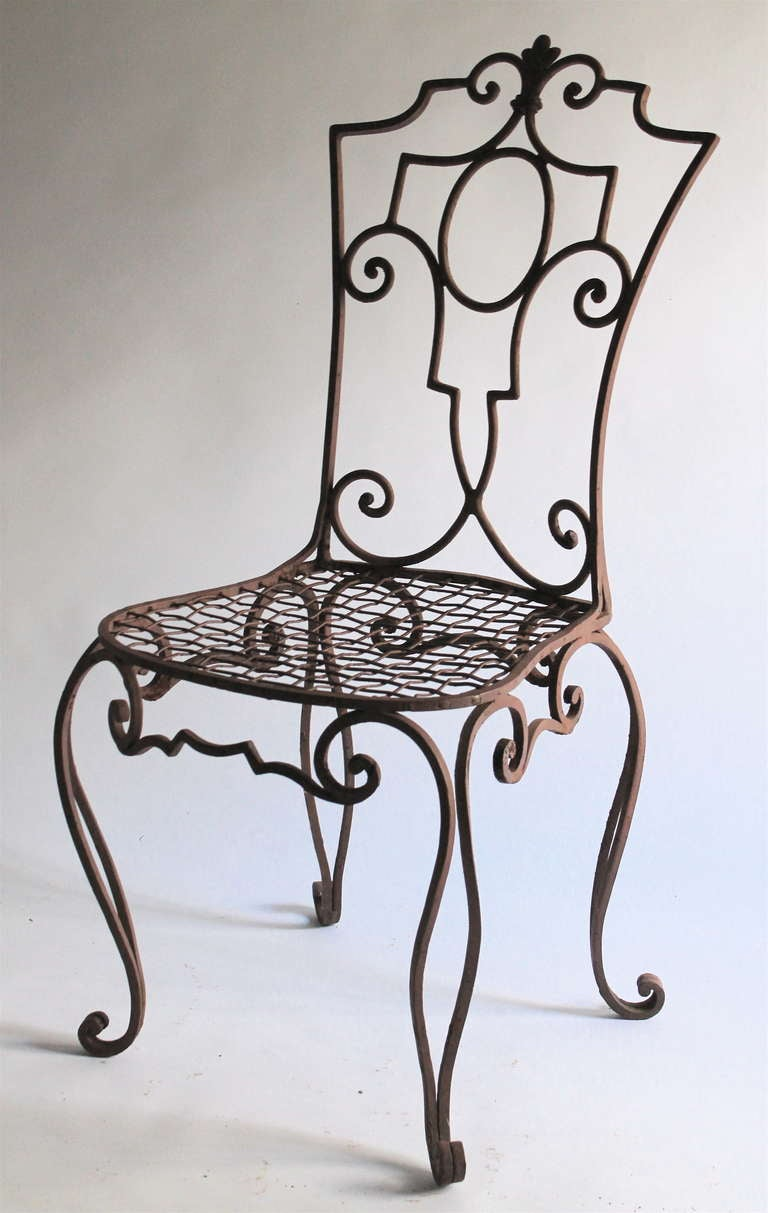 Jean charles moreux painted wrought iron chairs set of 6 for Iron furniture