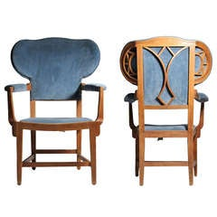 Pair Of Art Nouveau Deco Style Oak Chairs Possibly French Or Belgium - Dunbar