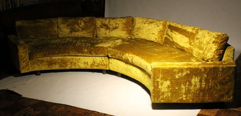 Vintage Chartreuse Curve Sofa Attributed To Milo Baughman