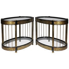Pair of Hollywood Regency Mastercraft End Tables by Bernard Rohne