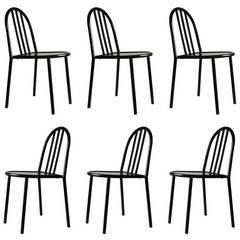 6 Robert Mallet-Stevens Black 222 signed Ecart stacking side chairs