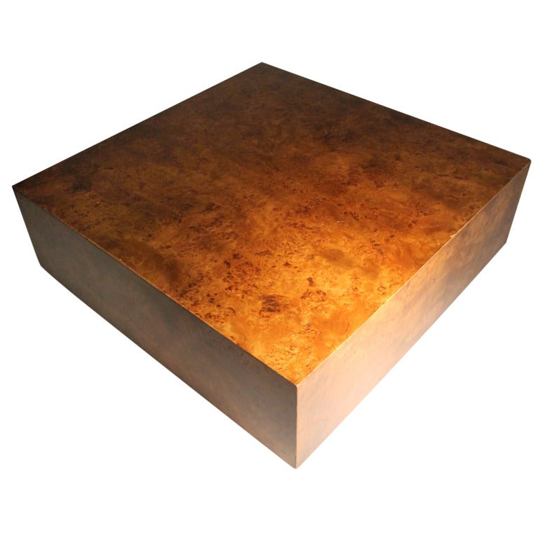 Milo Baughman Rolling Burl Wood Coffee Table On Castors At 1stdibs