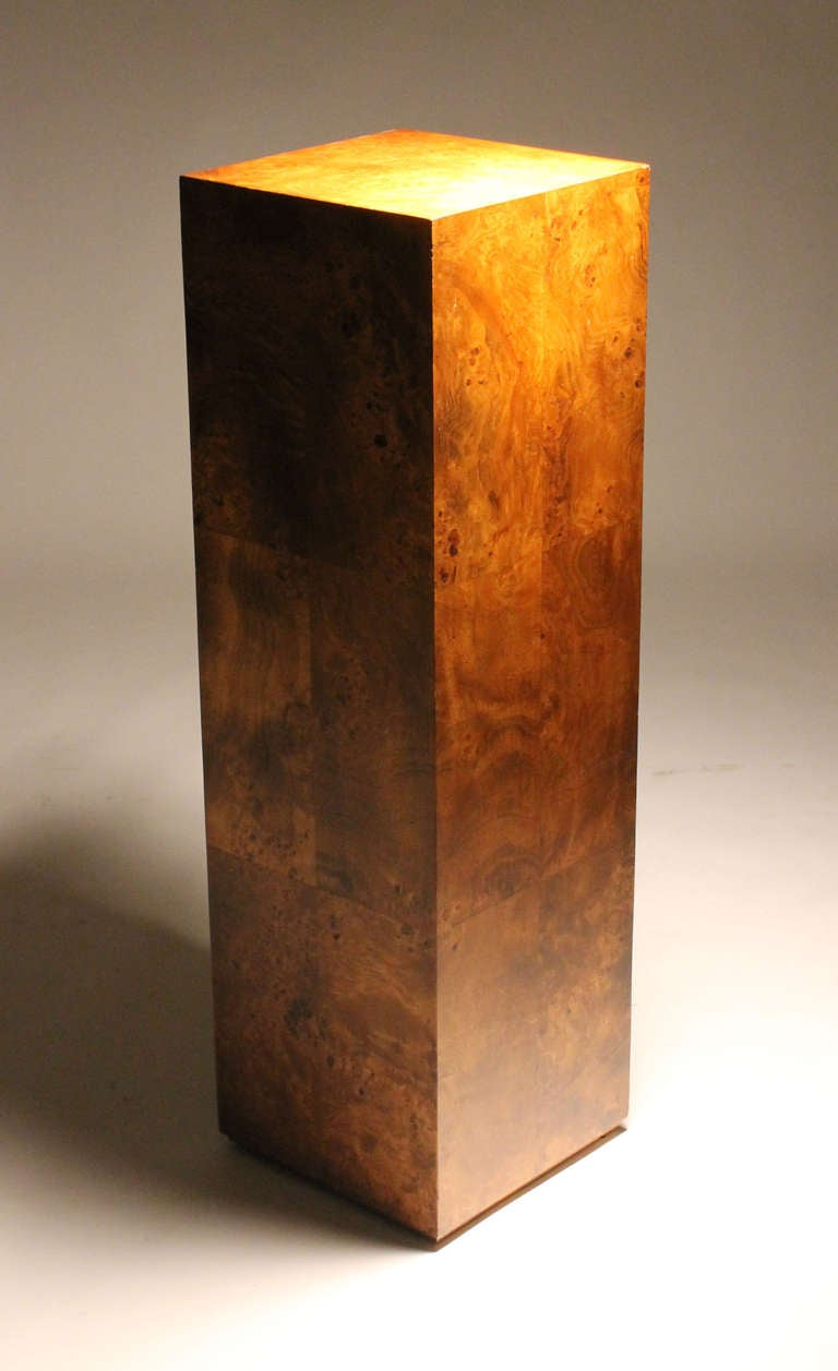 Pair Of Milo Baughman Burl Wood Pedestal Sculpture Bases