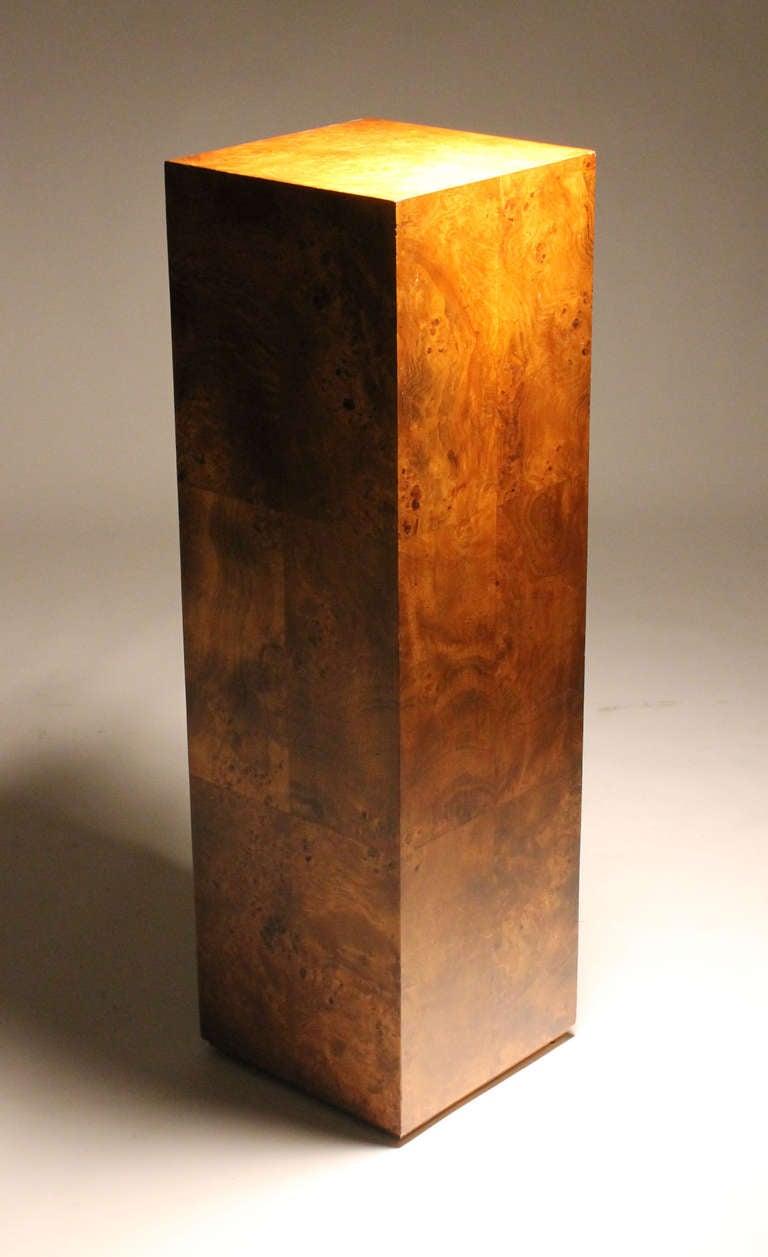Milo Baughman Tall Burl Wood Pedestal Base Style Of Paul
