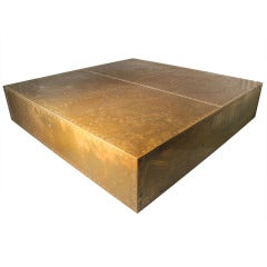Sarreid Brass Coffee Table Floating on Plinth Base Manner of Milo Baughman