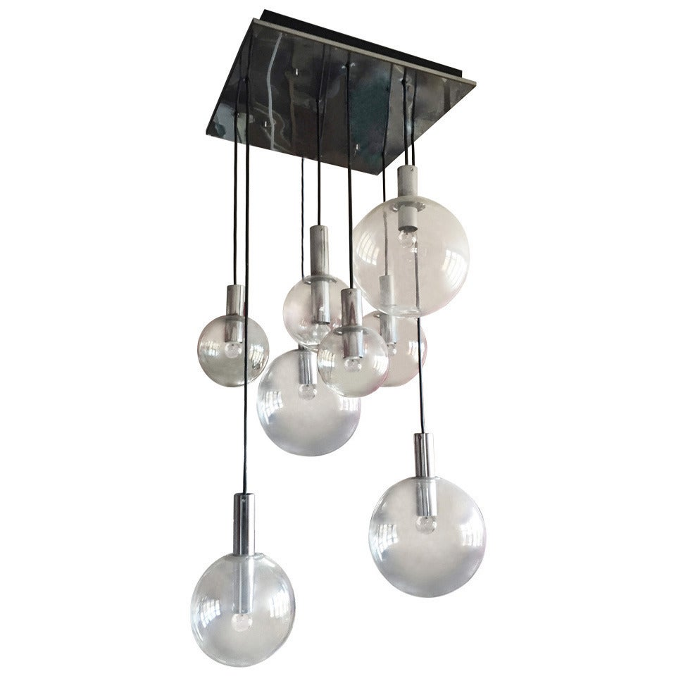 RAAK Chandelier Lamp Ceiling Fixture with Chrome Ceiling Mount
