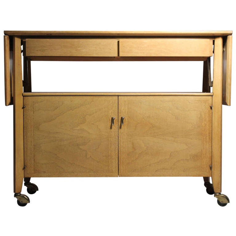 RED LION Vintage Buffet Bar Cart Rolling Server Manner Of Paul Mccobb For  Sale