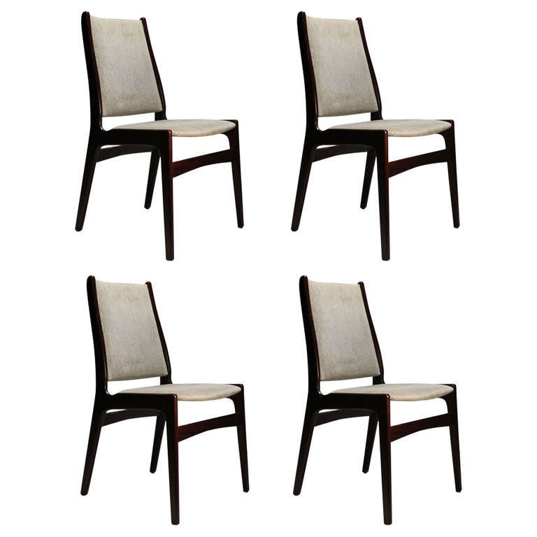 Danish Modern Rosewood 4 Dining Chairs in the Manner of Erik Buck