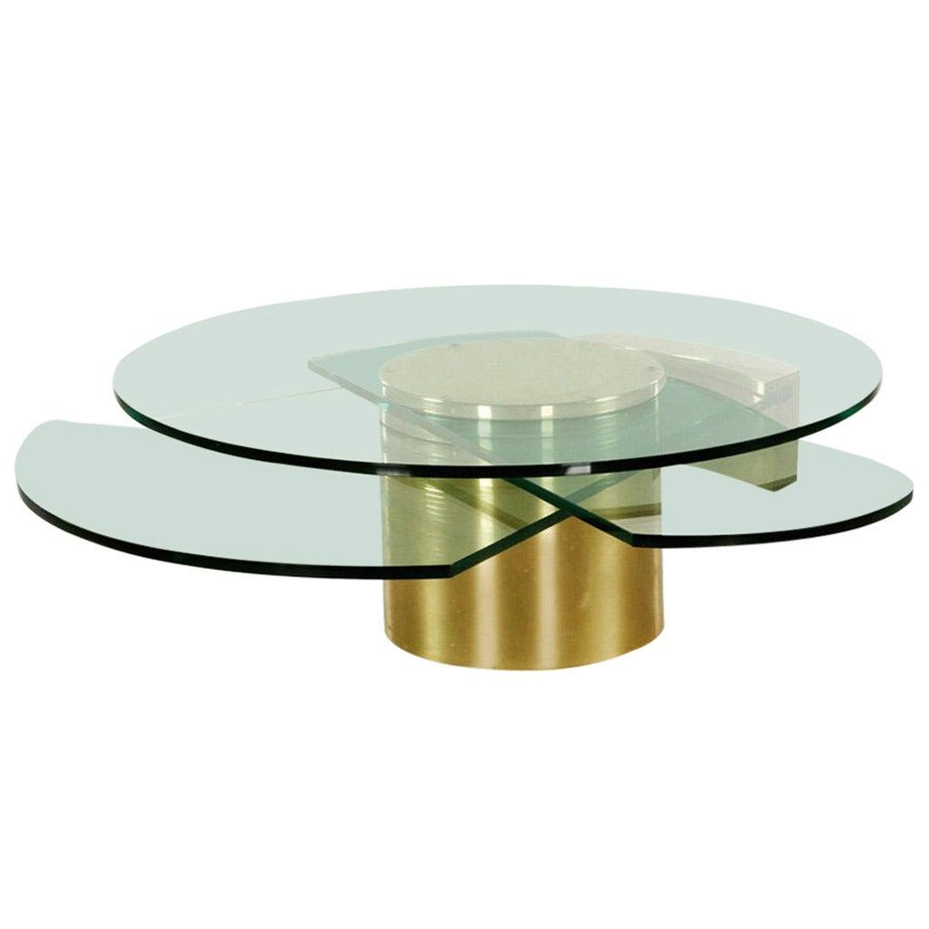 Vintage Dakota Jackson Self-Winding Coffee Table In Brass