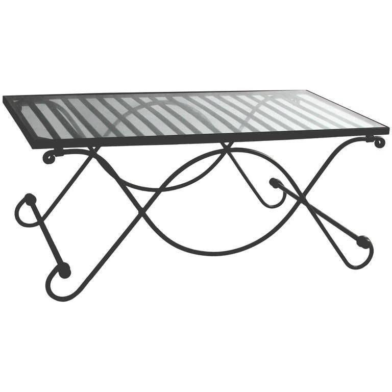 Salterini Wrought Iron And Glass Folding Coffee Table Early 20th Century At 1stdibs