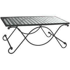 """Wrought Iron and Glass Folding Baker's """"Coffee"""" Table in Salterini Style"""