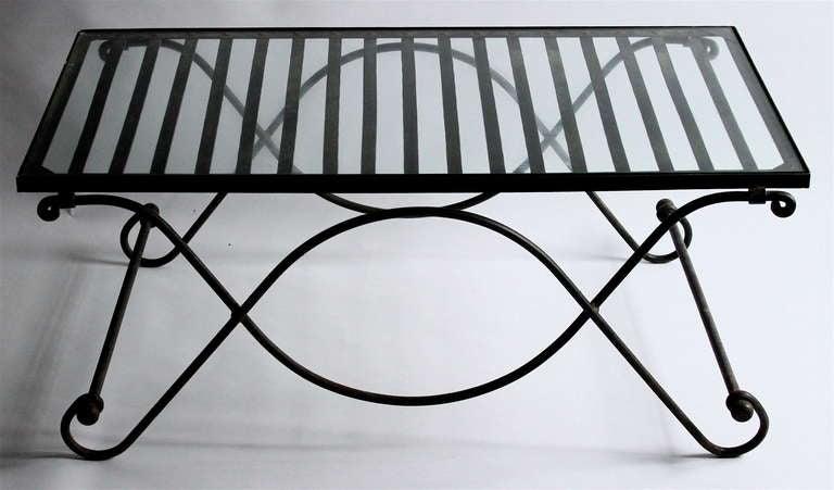 Salterini wrought iron and glass folding coffee table - Folding glass coffee table ...