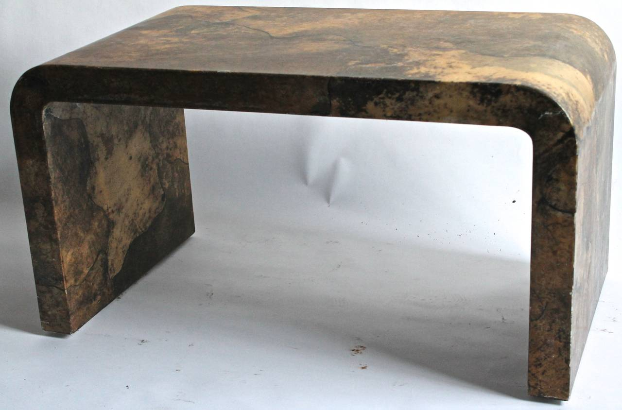 Karl Springer Goatskin Parchment Waterfall Table (Authenticated) 2