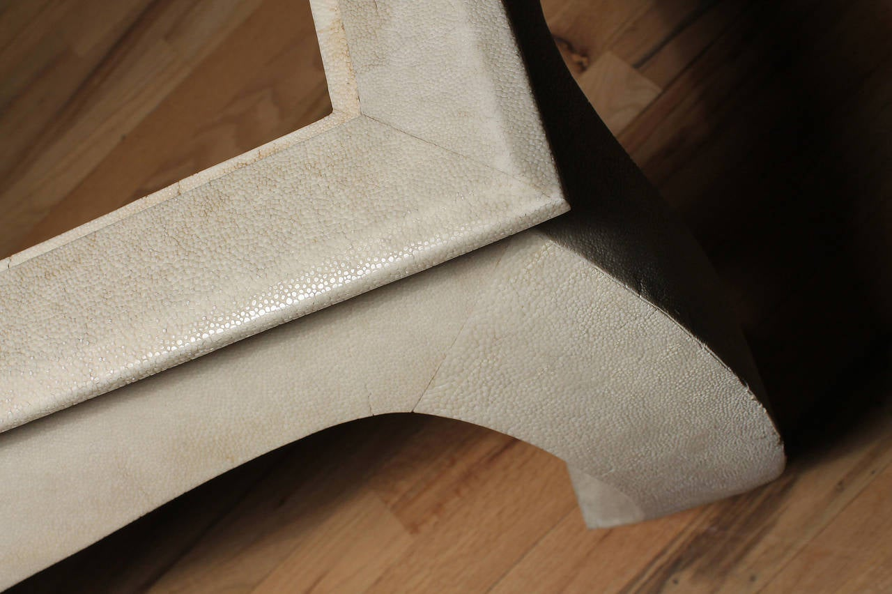 Chinoiserie Oriental Maitland-Smith Coffee Table Faux Shagreen  4