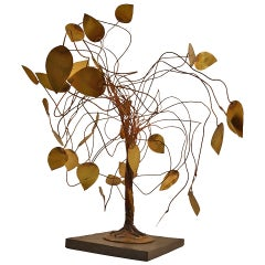 Whimsical Metal Tree Sculpture in the Brutalist School