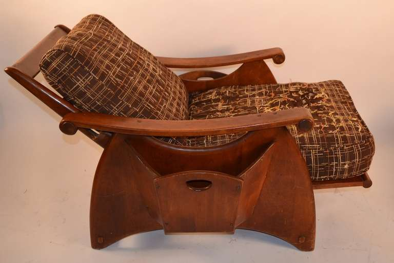 Solid Maple Rustic Lounge Chair and Ottoman at 1stdibs