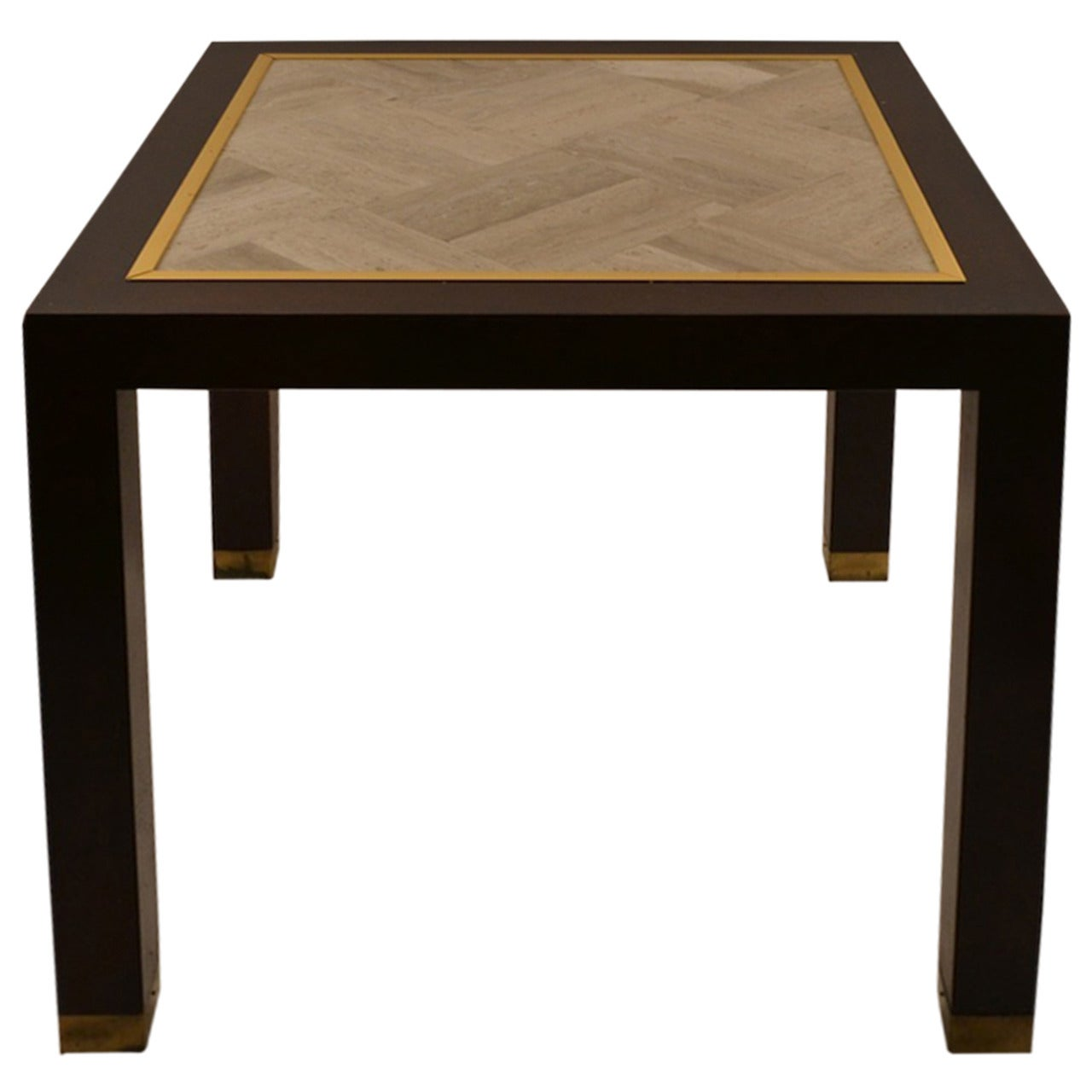 Square End Table with Parquetry Marble Top