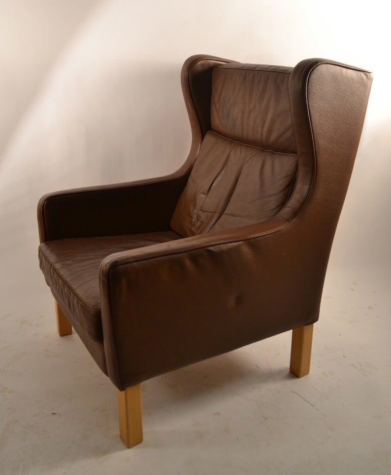 Tan brown leather danish modern lounge chair for sale at for Modern leather club chairs