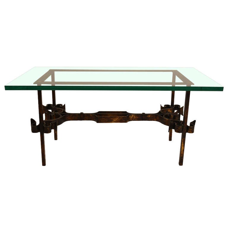 Glass Top Coffee Table With Iron Base: Wrought Iron Base Glass Top Table For Sale At 1stdibs