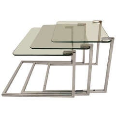 Chrome and Glass Nest of Tables