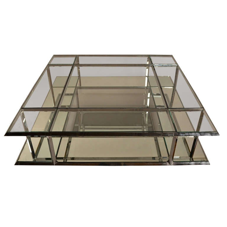 Large architectural chrome and glass coffee table at 1stdibs Large glass coffee table