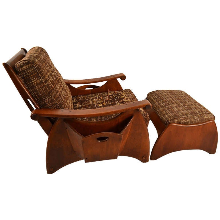 Awesome Solid Maple Rustic Lounge Chair And Ottoman 1