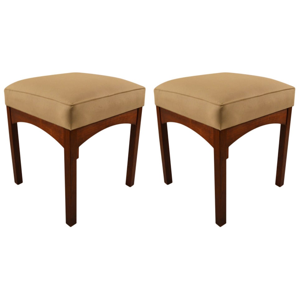 Pair Of Modernist Stools Ottomans At 1stdibs