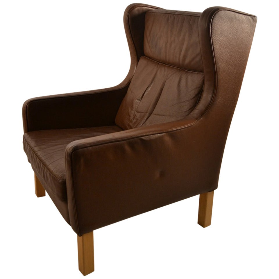 Tan brown leather danish modern lounge chair for sale at for Modern leather chair