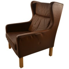 Tan Brown Leather Danish Modern Lounge Chair