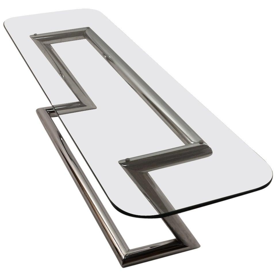 Tubular Chrome Coffee Table: Tubular Chrome Base Plate Glass Top Cocktail Table For