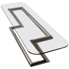 Tubular Chrome Base Plate Glass top Cocktail Table