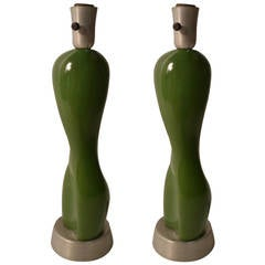 Pair Rare Russel Wright Ceramic Nude Form on Spun Aluminum Base