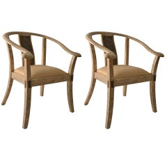 Pair of Tessellated Stone Asia Modern Chairs