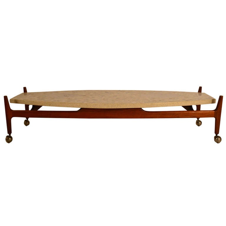 Harvey probber travertine top surfboard coffee table at for Surfboard coffee table