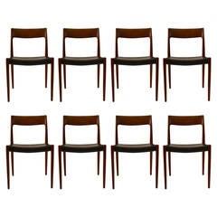 Set of Eight J. L. Moller Teak and leather Dining Chairs