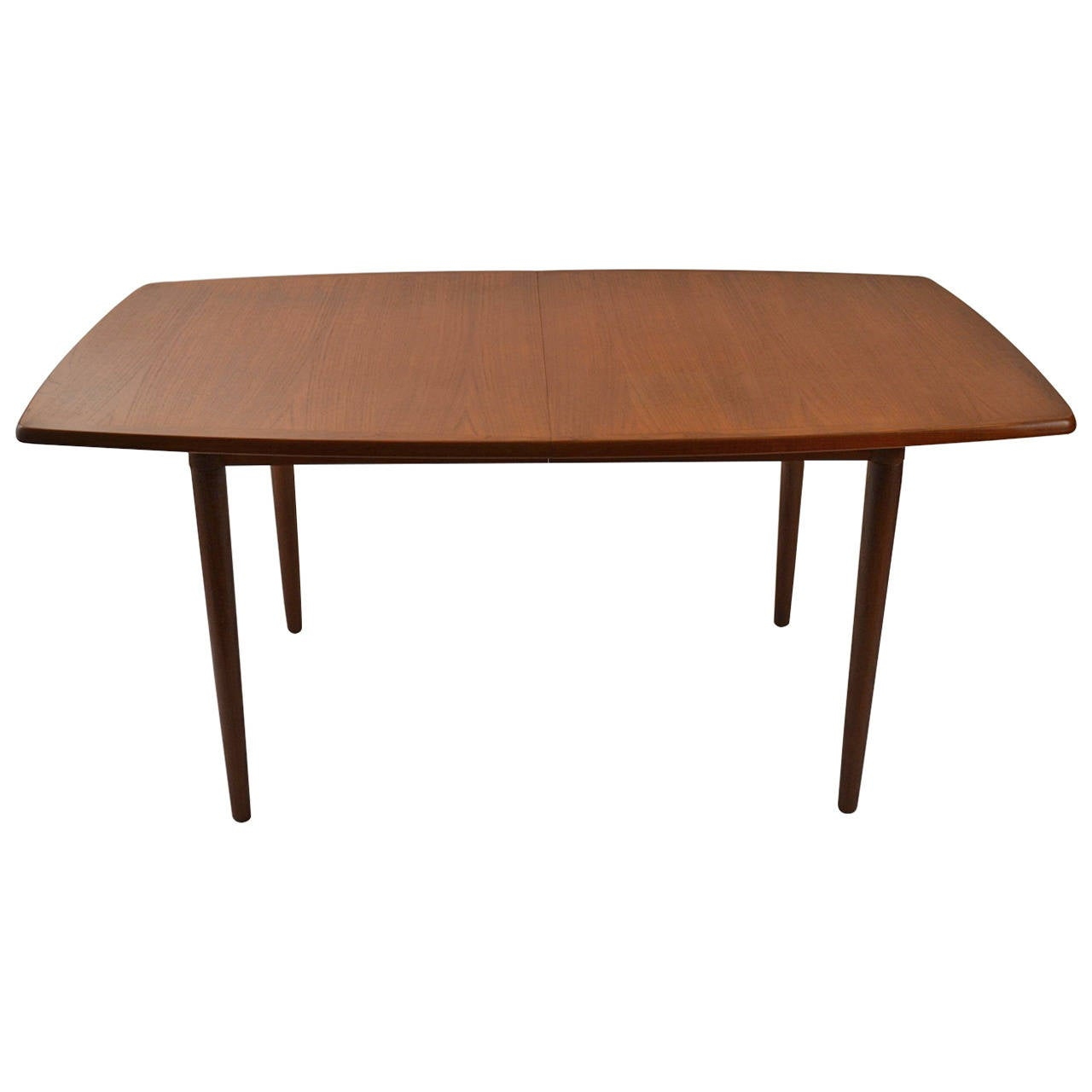Danish modern teak dining table with two leaves at 1stdibs for Dining room tables with leaves
