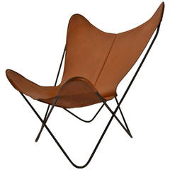 Hardoy Tan Leather Butterfly Chair