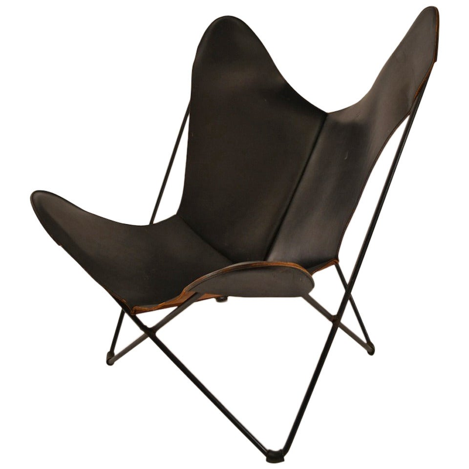 Attrayant Vintage Hardoy Butterfly Chair In Black Leather For Sale