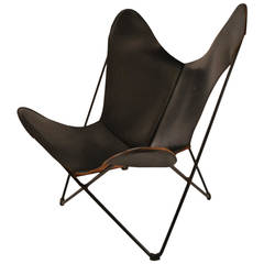 Vintage Hardoy Butterfly Chair in Black Leather