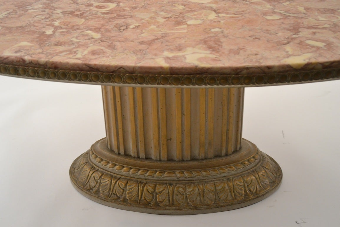 Grosfeld house oval marble top cocktail table for sale at for Oval coffee table with marble top