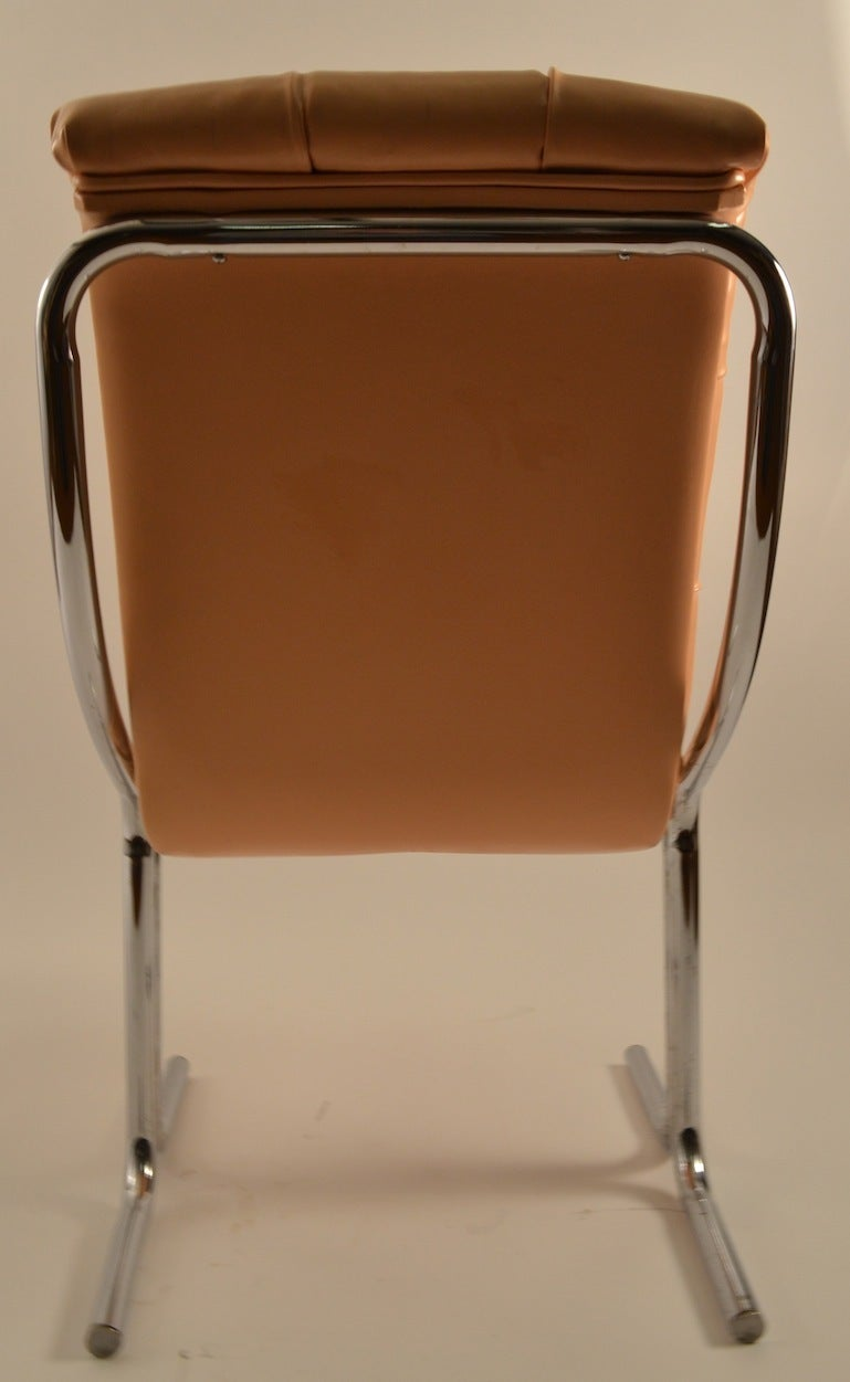 Tubular Chrome Tufted Vinyl Armless Chair For Sale At 1stdibs