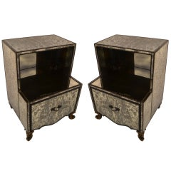 Pair Mirrored Night Stands attributed to James Mont